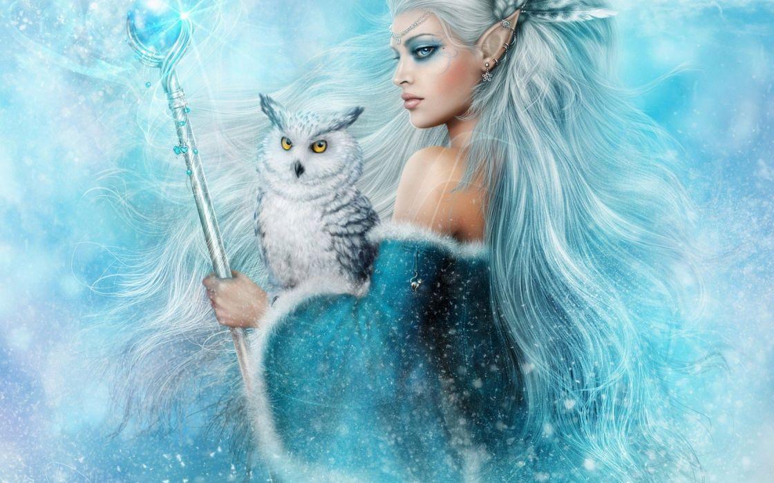 girl elf owl magic fantasy blue animal wallpaper