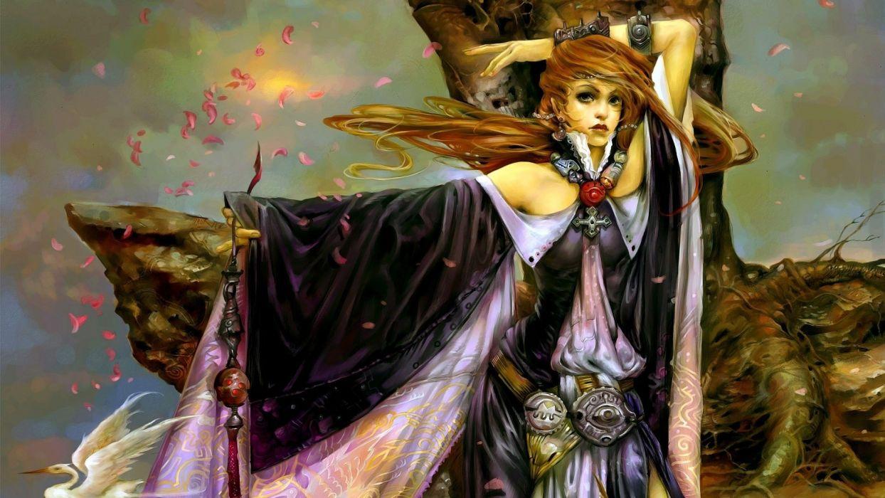 fantasy girl hands petals tree magic wallpaper