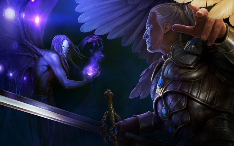 fantasy might and magic heroes sword wings feathers magic wallpaper
