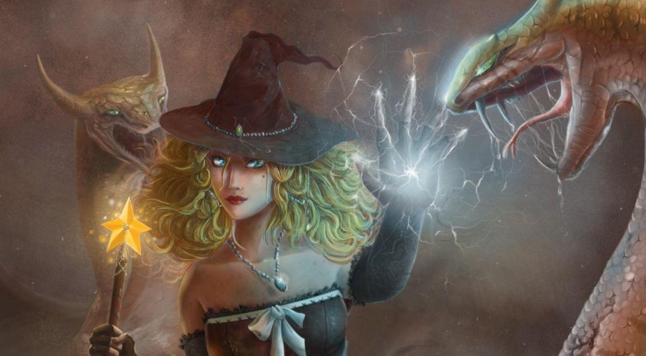 fantasy girl dragons fall magic witchcraft wallpaper