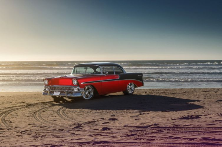 1956 Chevy Bel Air cars red modified classic wallpaper