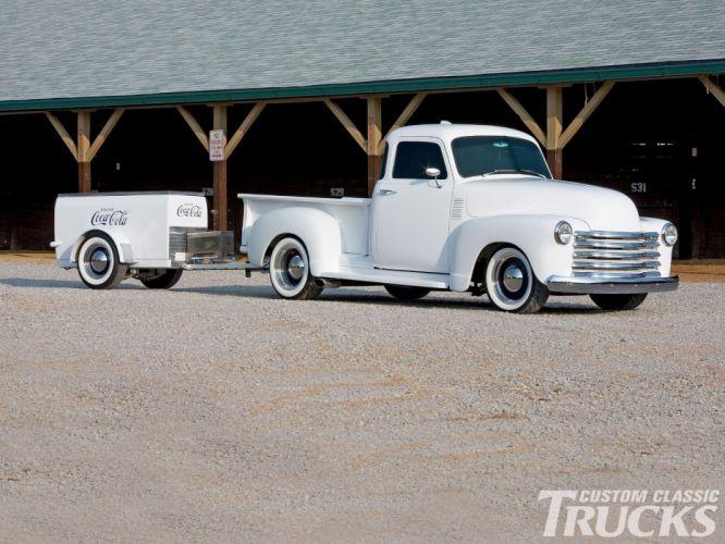 1952 Chevrolet 3100 Pickup Hotrod Hot Rod Custom Old School White USA 1600x1200-01 wallpaper