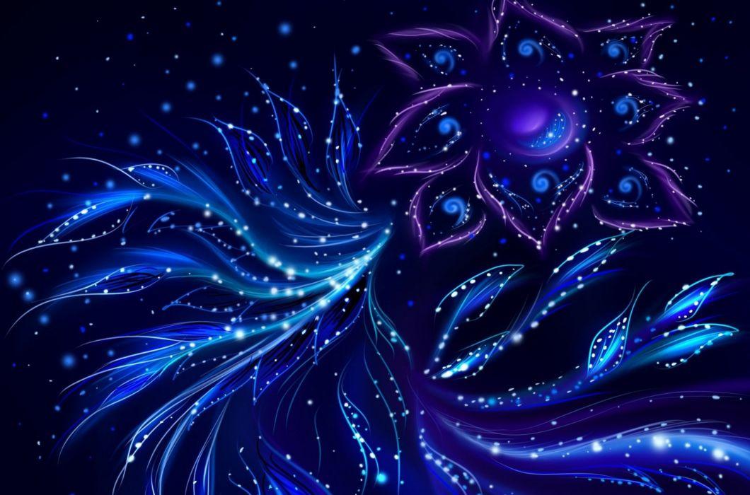 Abstracto Arte Azul Ave Flores Wallpaper 2273x1502 930949