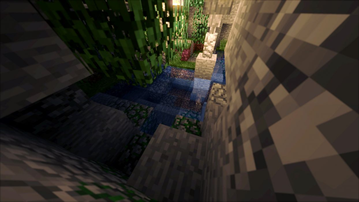 Minecraft Cave Shaders Shadow Glowing Water Wallpaper