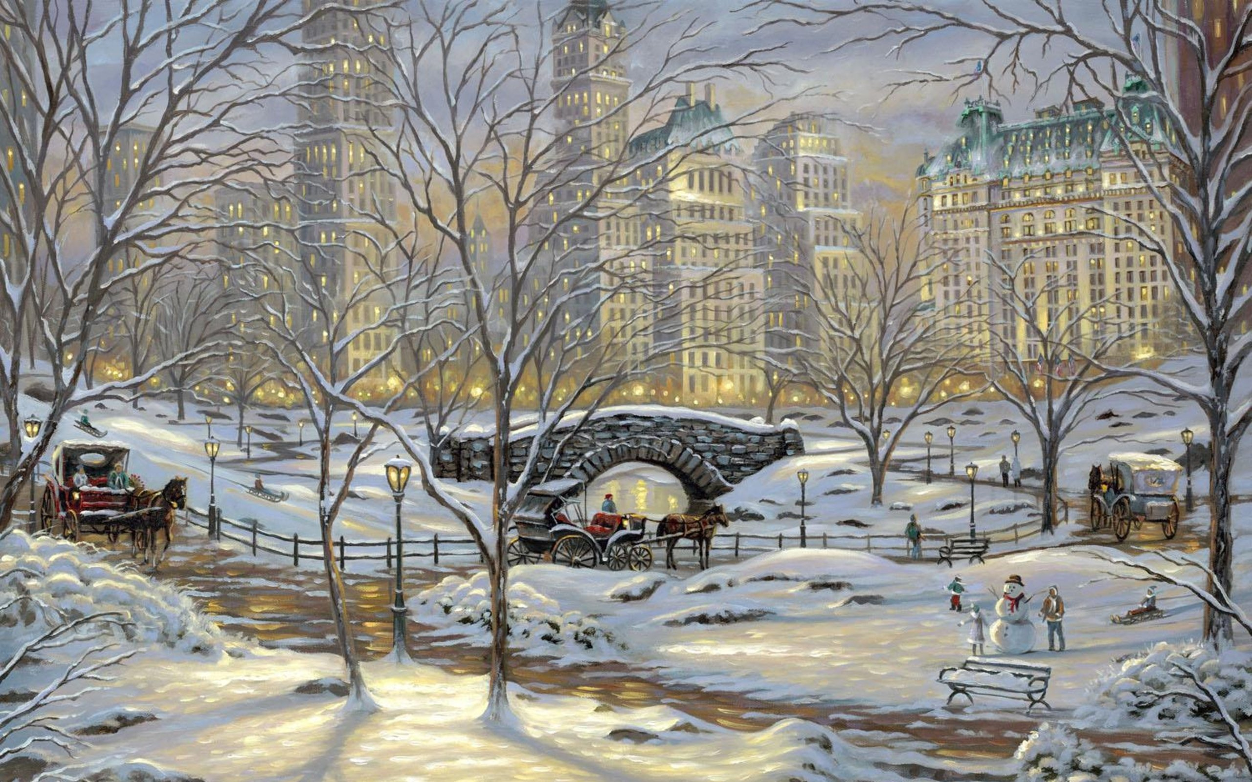 Painting Winter Snow Bridge Snowman Art Wallpaper