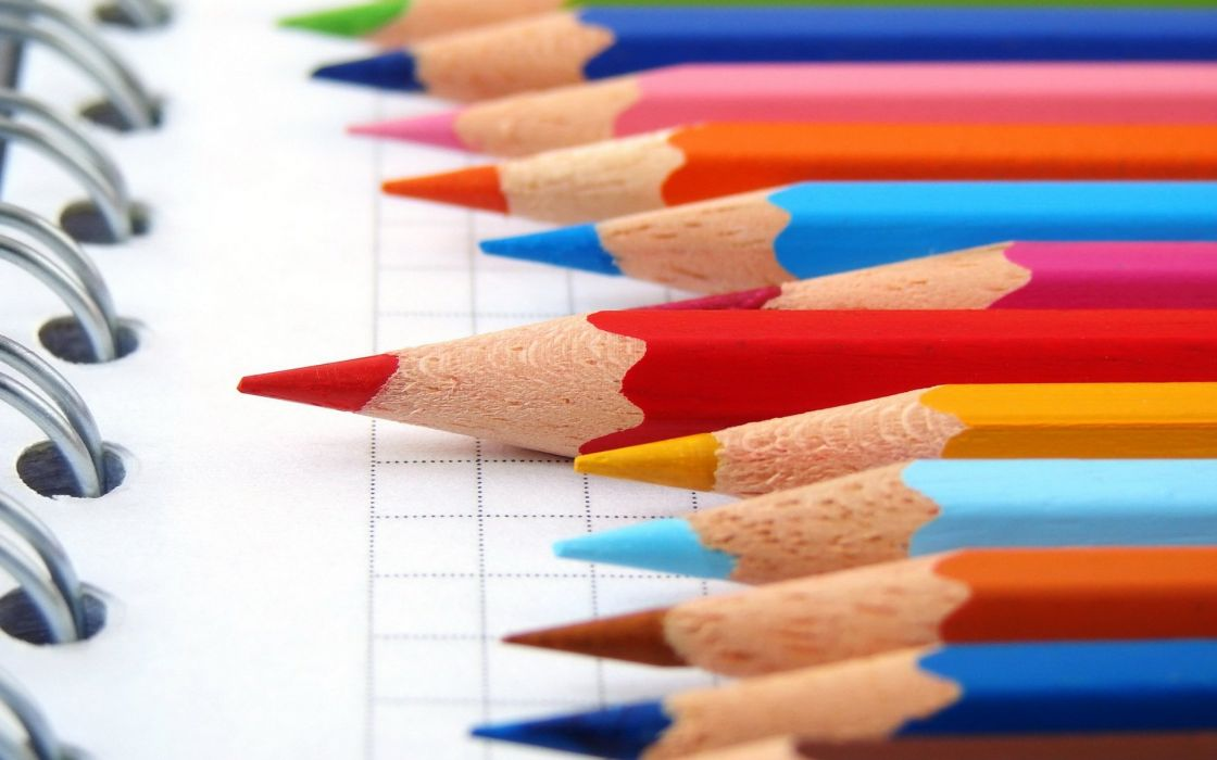 pencils colored notebook set of wallpaper