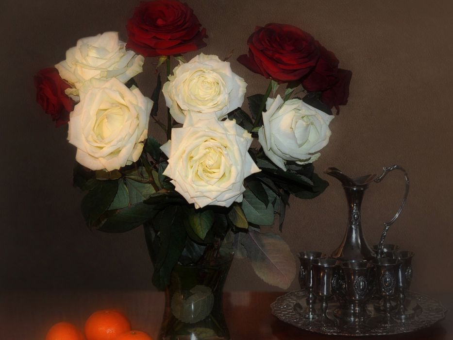 roses bouquet vase orange still life wallpaper