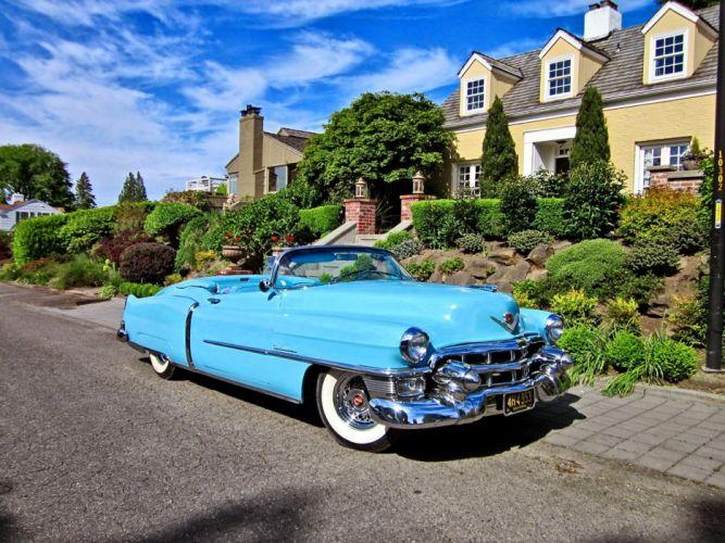 1953 Cadillac Eldorado Convertible Blue Classic Old Vintage Original USA -01 wallpaper