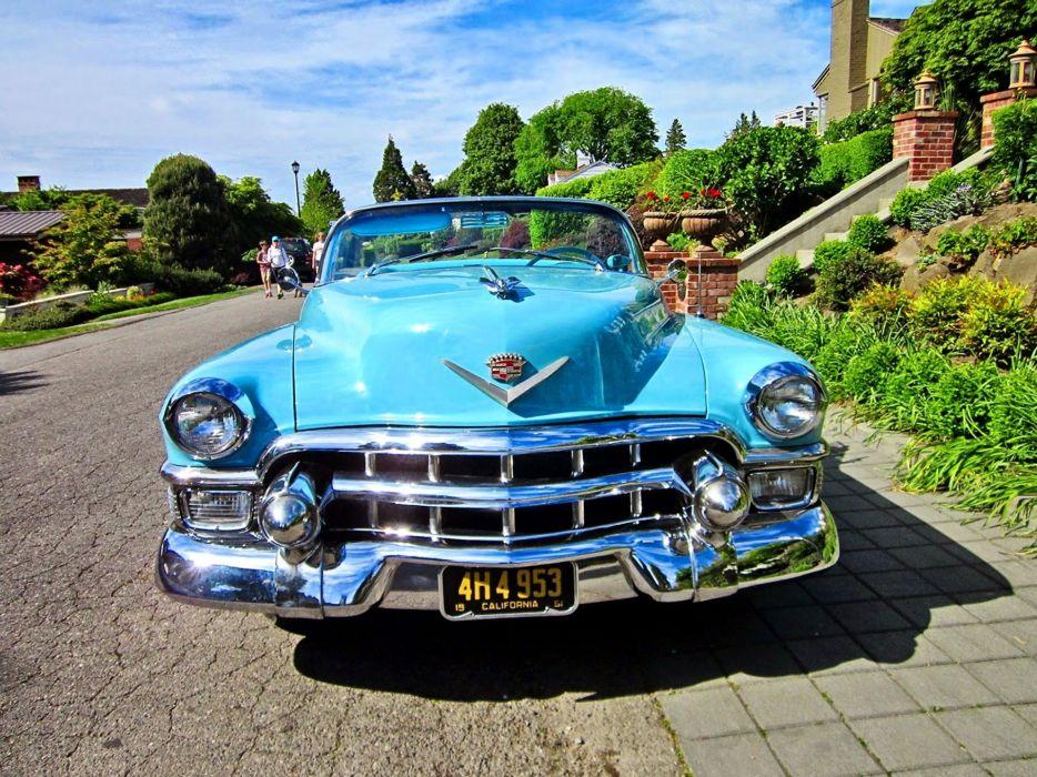 1953 Cadillac Eldorado Convertible Blue Classic Old Vintage Original USA -04 wallpaper