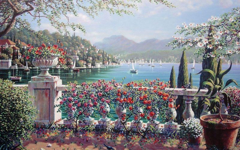 balcony flowers lake art wallpaper