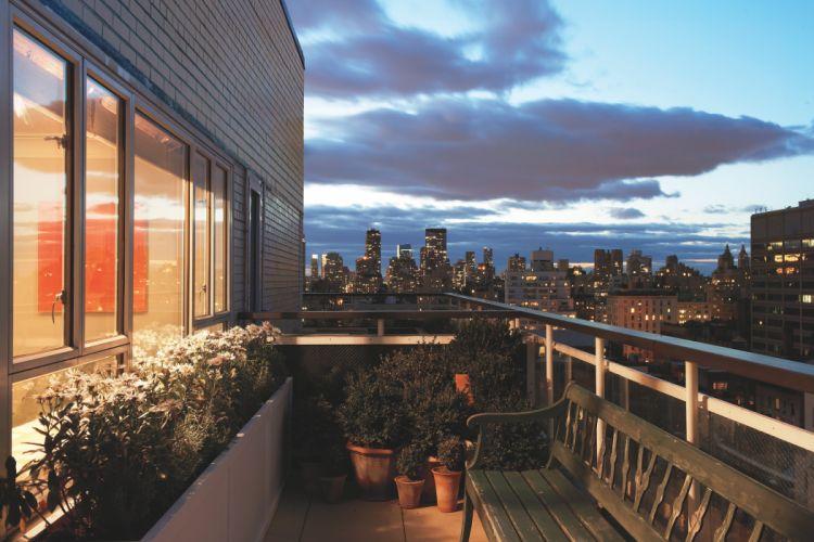 interior design style metropolis city apartment living space balcony wallpaper