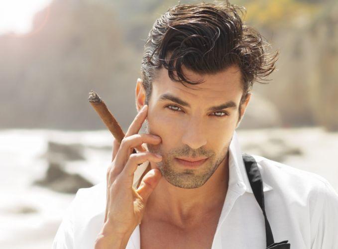 male man cool blue eyes guy look cigar shirt sea wallpaper