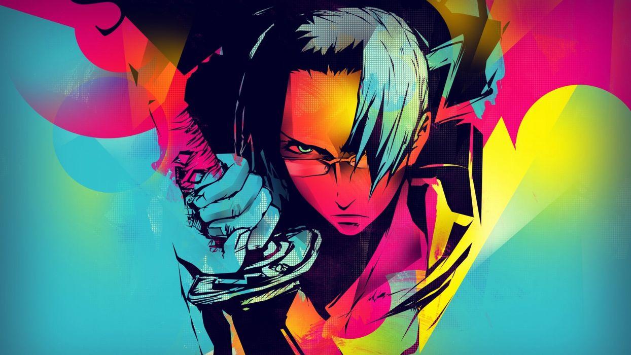 anime male sword sight glasses vector wallpaper