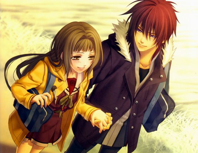 anime couple hiiro no kakera guy girl walking wallpaper