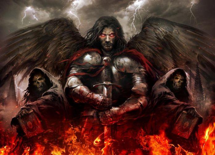 fantasy wings male skull undead sword books fire lightning wallpaper