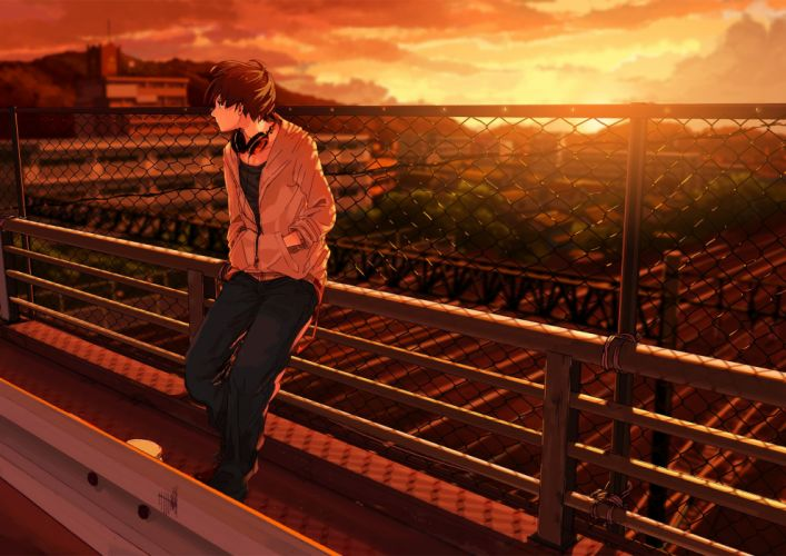 anime sunset beauty kurono-kuro guy headphones sunset bridge wallpaper