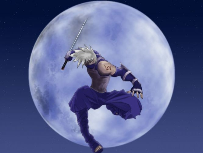 anime naruto hatake kakashi guy arms moon jump wallpaper