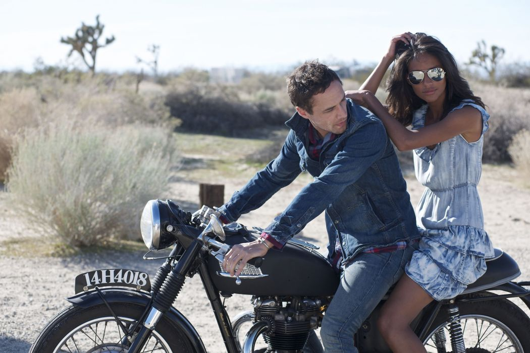 couple girl guy motorcycle date nature wallpaper