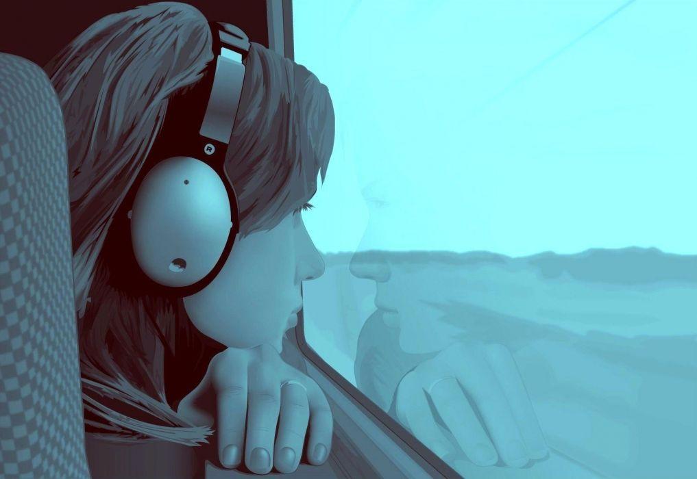girl window guy alone headphones screen wallpaper