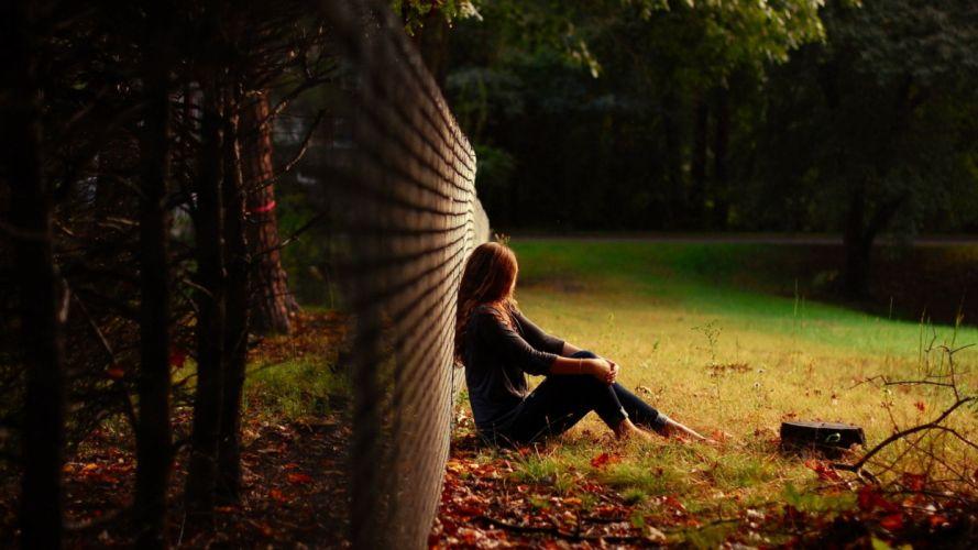 mood grass girl alone sitting nature wallpaper