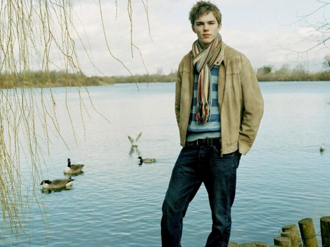 male nicholas hoult actor guy pond river trees wallpaper
