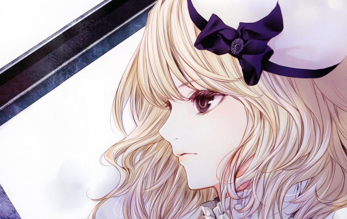 anime series beauty kiyohara hiro girl hat art bow blonde hair wallpaper