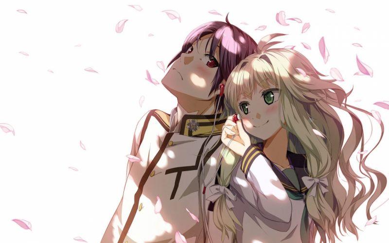 couple anime girl guy headphones wallpaper
