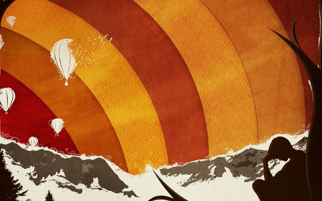 anime mountains parachute guy wallpaper