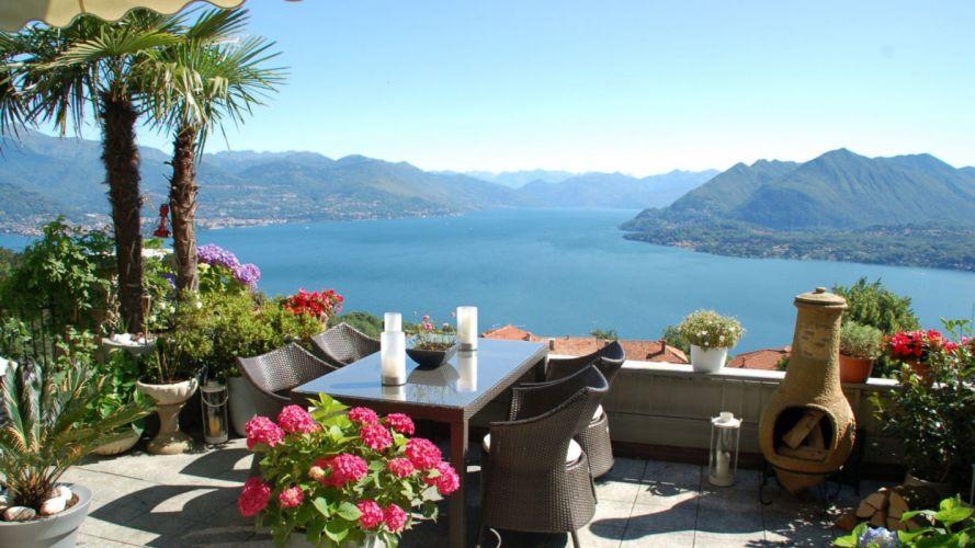 lake mountain balcony view mood pleasure relaxation italy stresa maggiore wallpaper