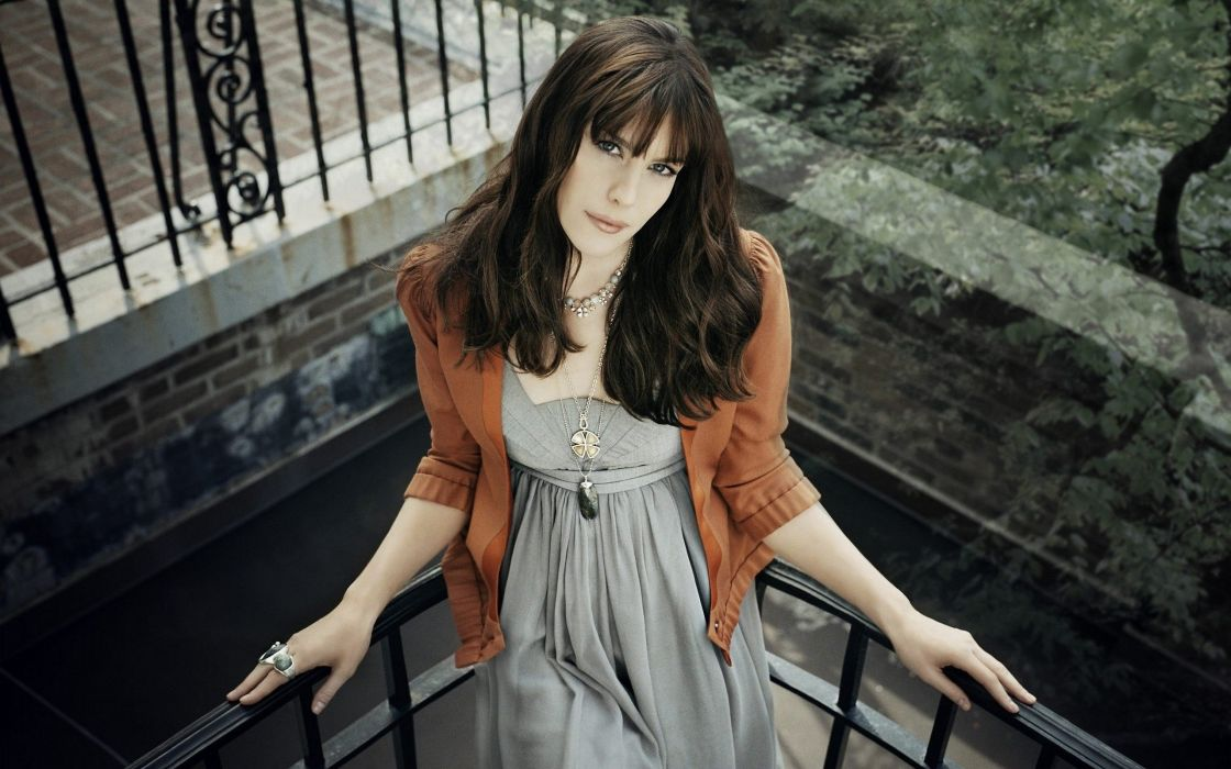 liv tyler brunette dress top view balcony wallpaper