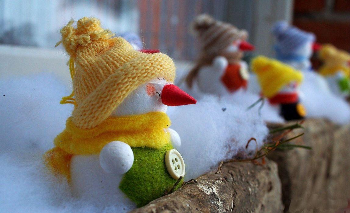 new year christmas holiday snowmen wool balcony wallpaper