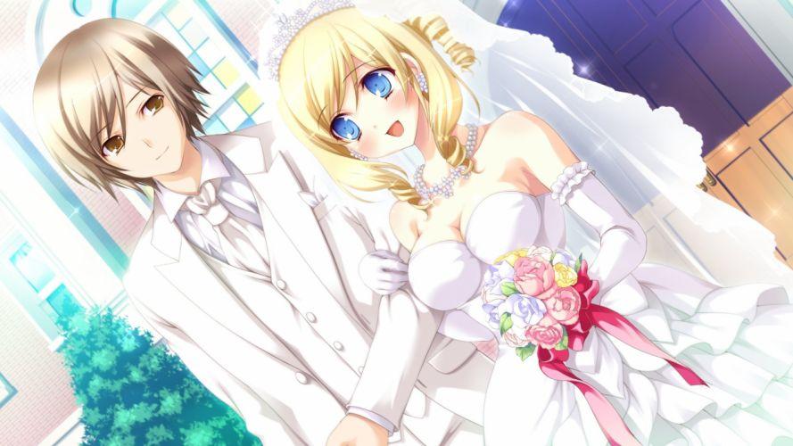 hyper highspeed genius sakura windsor girl guy wedding bouquet joy dress wallpaper