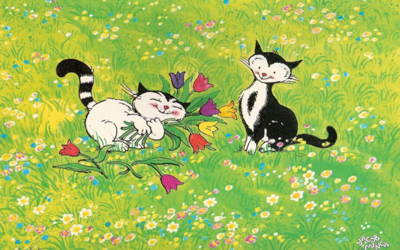 cats meadow flowers walk love wallpaper