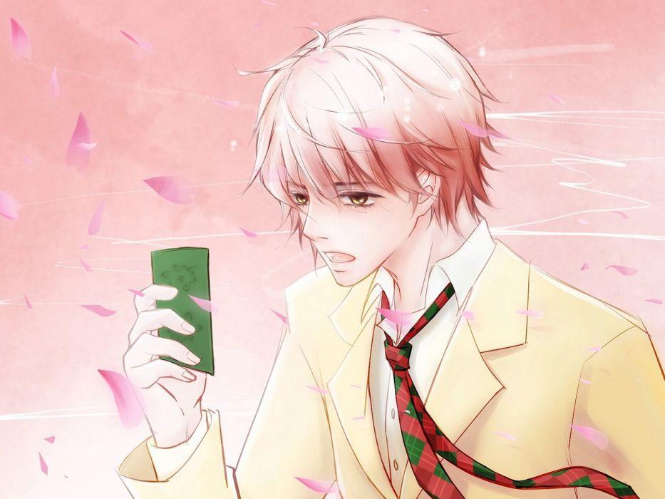 anime series yay chihayafuru taichi majima guy tie wind petals wallpaper