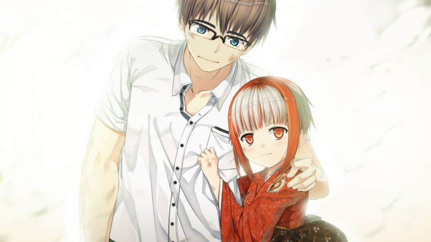 anime monobeno sumi girl glasses guy hugs wallpaper