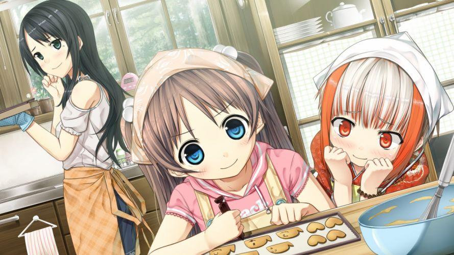 monobeno sawai natsuha sumi girl cute smile dough kitchen wallpaper