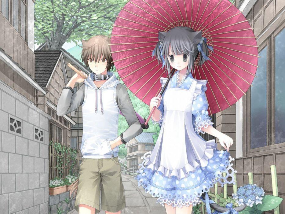 kuroinu kanzaki miku kanzaki hayato girl guy walks umbrella wallpaper