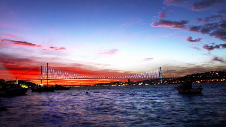 turkey sea bridge night lights city wallpaper