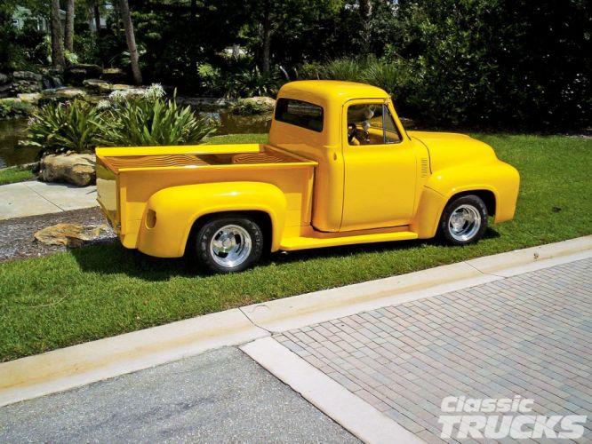 1954 Ford F100 Pickup Hotrod Streetrod Hot Rod Street Yellow USA 1600x1200-02 wallpaper