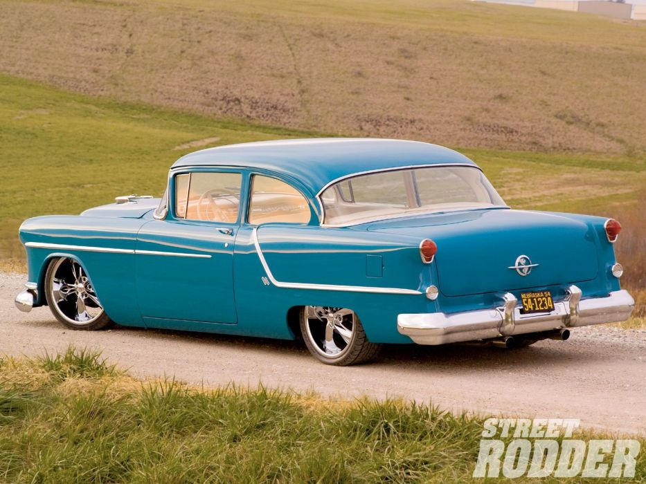 1954 Oldsmobile Sedan two Door Hotrod Streetrod Hot Rod Street Blue USA 1600x1200-02 wallpaper