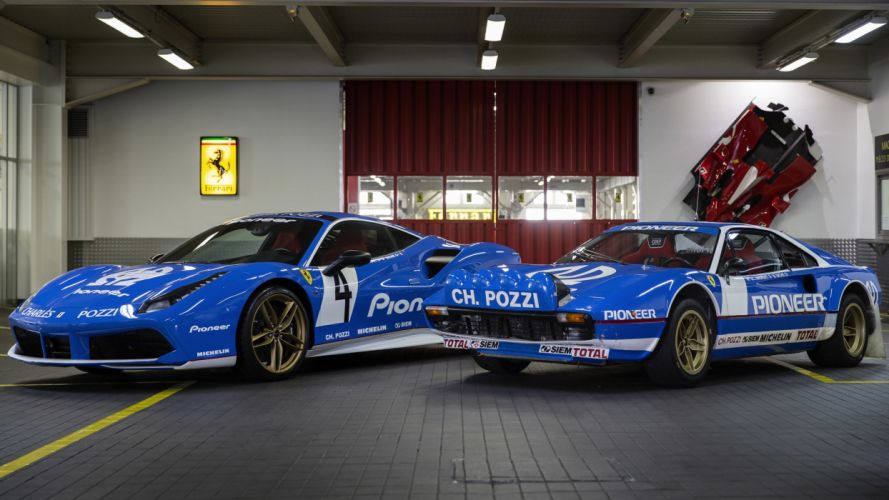 2016 Ferrari 488 GTB Pioneer livery cars blue modified wallpaper