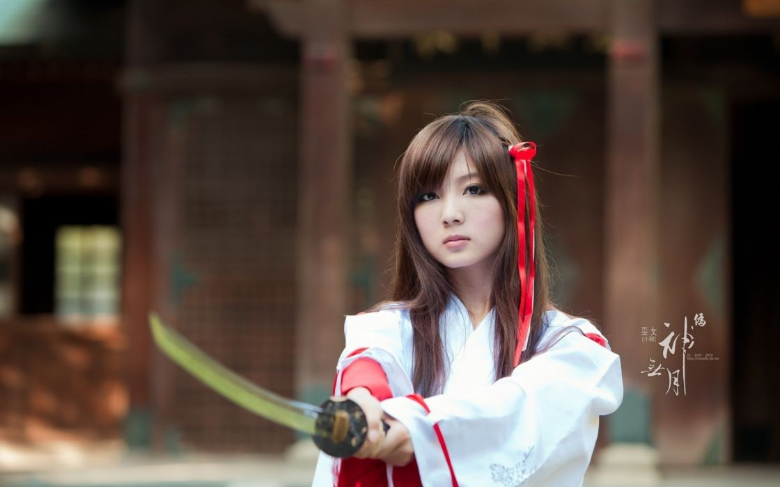 beauty girl female asian sword kimono wallpaper
