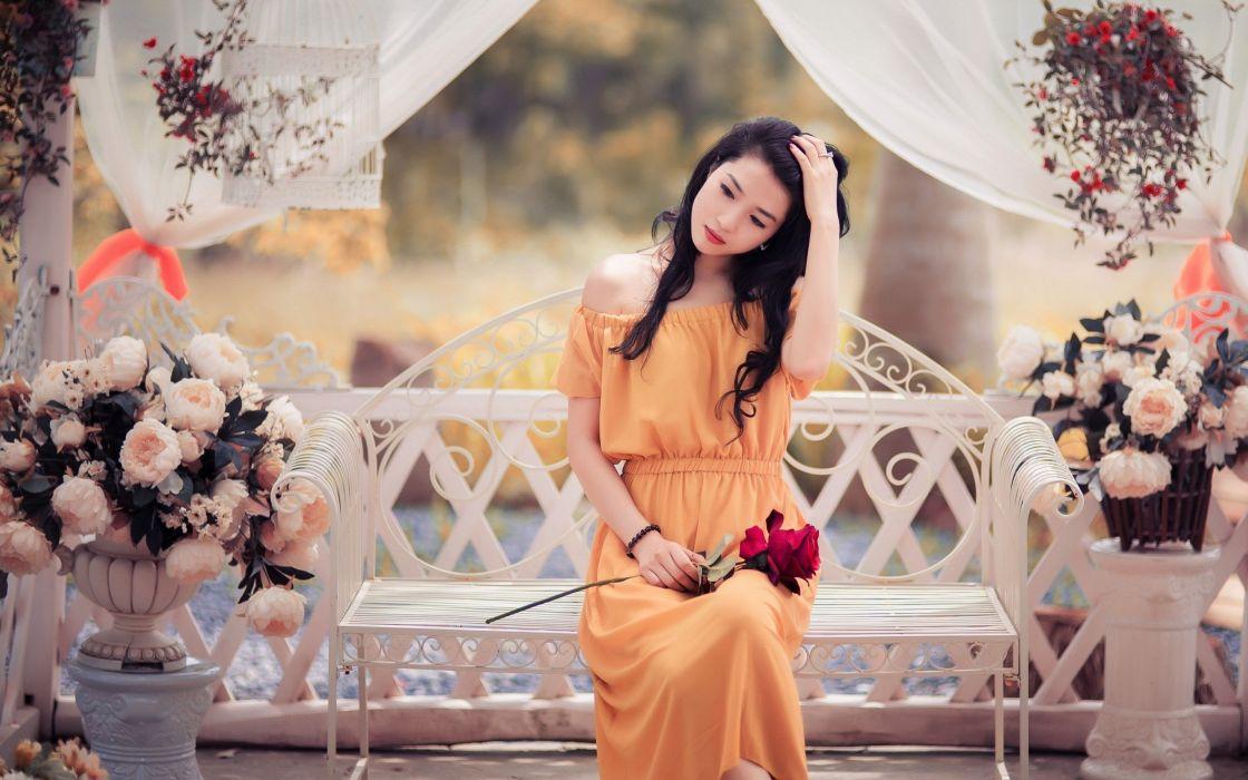 beautiful female roseflower summer asian girl brunette dress bench romance wallpaper