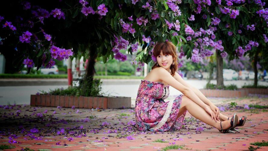 asian girl flower tree smile dress wallpaper