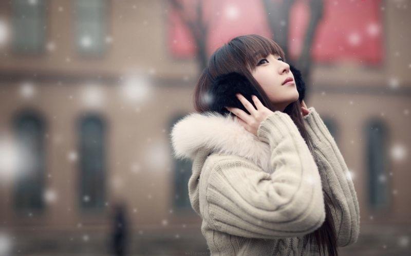 girl asian jacket snow mood wallpaper
