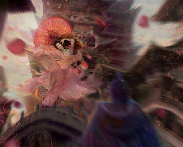 fantasy girl umbrella falling asian wallpaper