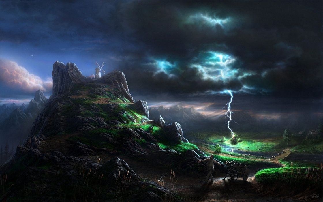lightning blow elements category person burro fright mills mountains painting art wallpaper