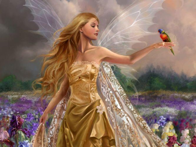 fairy girl wings flowers field bird wallpaper