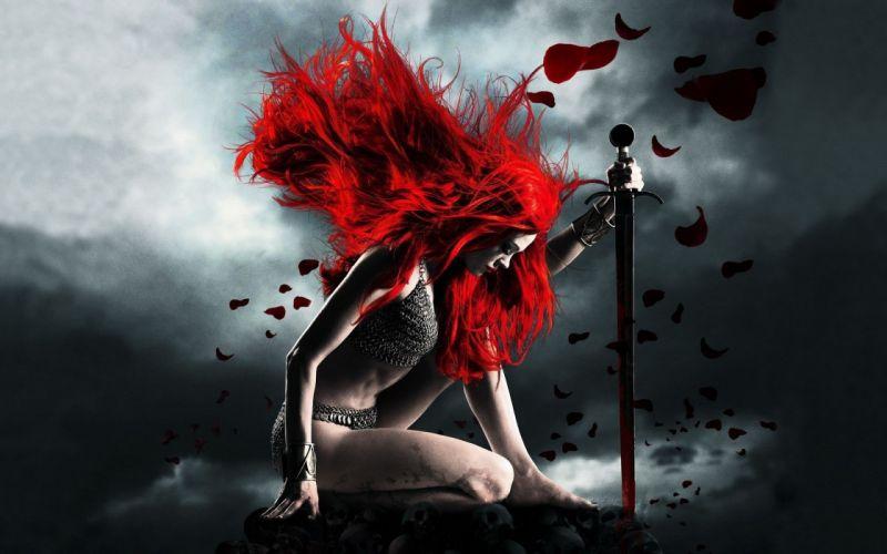 girl hair sword petals red wallpaper