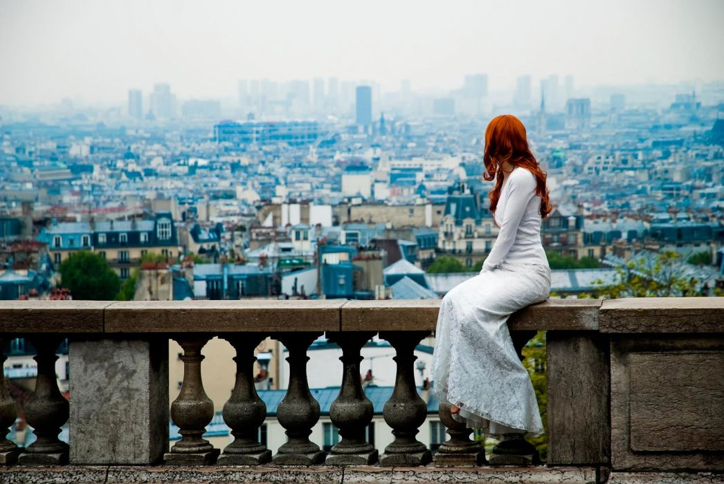 girl city top view observation redhead wallpaper